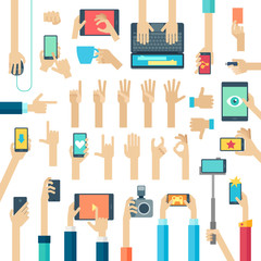 Wall Mural - Hands set with gadgets.