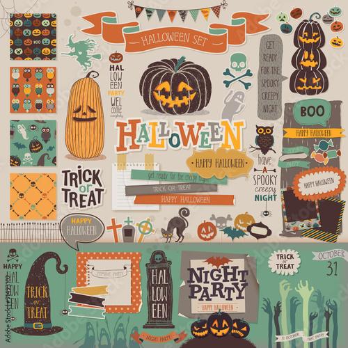 Wall mural Halloween scrapbook set - decorative elements.
