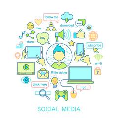 Wall Mural - Social Media set -line icons.