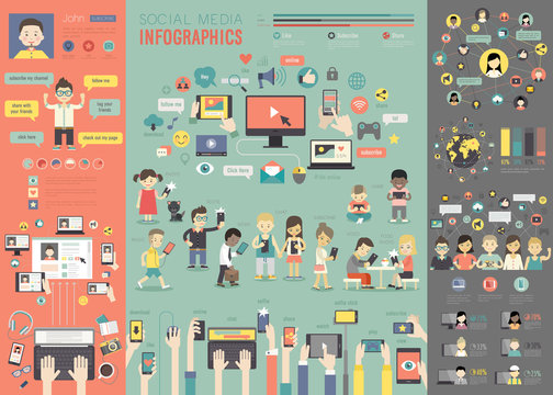 Social Media Infographic set with charts and other elements.