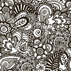 Doodle monochrome print.  Seamless background.