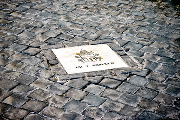 Exactly marked place in Rome where Pope John Paul II was assassinated
