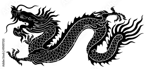 silhouette of chinese dragon crawling stock image and royalty free