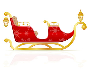 red christmas sleigh of santa claus vector illustration