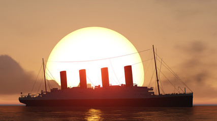 titanic and sunset