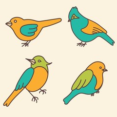 Cartoon set of cute birds in vector.