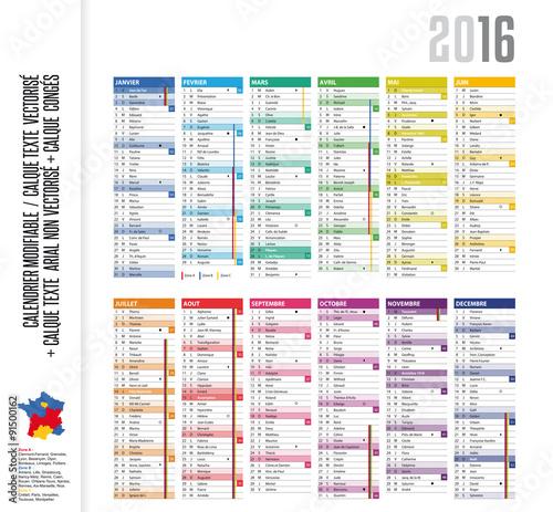calendrier 2016 semaine