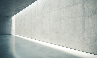 Blank space interior wall with white lights . 3d render