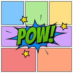 Pow Comic Book Cartoon Background Though Speech Scream Bubble Effects Onomatopoeia Halftone