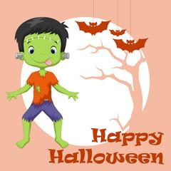 Little boy dressed up as Frankenstein