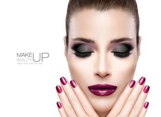 Beautiful Fashion Model Woman with Festive Nail Art and Make-up