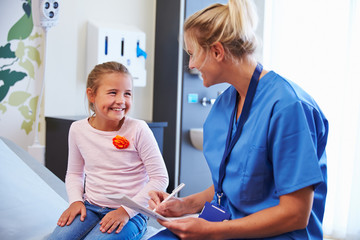 Girl Talking to Nurse In Hospital Room