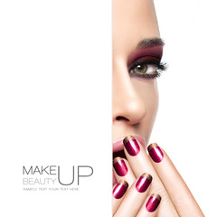 Beauty and Makeup concept. Fashion Make-up and Nails