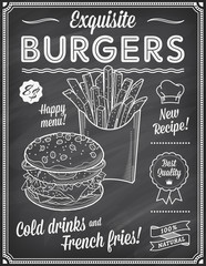 Grunge Chalkboard Fast Food Menu Template
