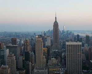 Aerial night view of Manhattan skyline in New York