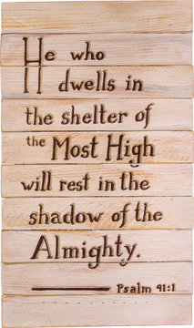 Psalm 91:1hand painted on wooden shim canvas