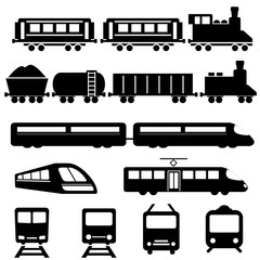 Train and railway transportation icons