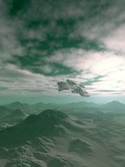 Science fiction illustration of a spaceship flying over the hills on an alien planet, 3d digitally rendered illustration