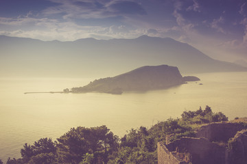 View of Sveti Nikola island at sunrise. Budva. Montenegro. Adriatic sea.