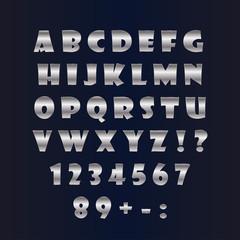English silver alphabet on a black background. Vector illustration.