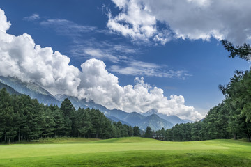 Pahalgam Golf Course with mountains in background, Jammu & Kashmir