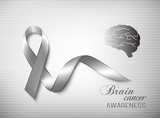 Brain cancer awareness ribbon. Vector