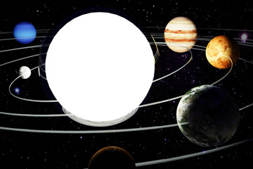 3d illustration with the image of a model of the solar system