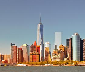 New York City USA, Manhattan business district skyline, Instagram color filter processing for vintage looks