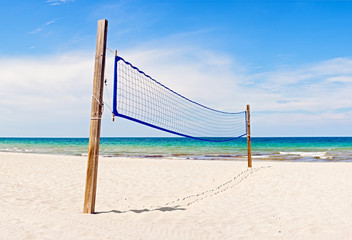 Beach Volleyball field and net in Miami Florida on a beautiful sunny summer day