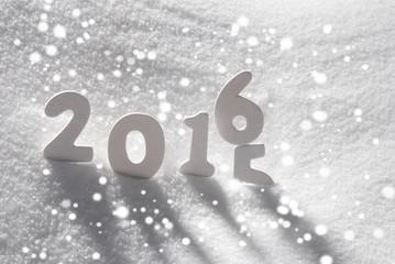 White Christmas Word 2015 2016 On Snow, Snowflakes