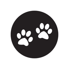 black and white  Paw sign icon. Dog pets steps symbol.  Classic flat icon. Vector