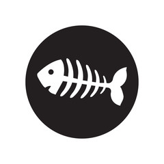 black and white ish bone, fish skeleton.Classic flat icon. Vector