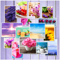 Collage of different bright photos on wooden background
