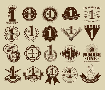 Vintage Retro The Number One # 1 Seals and Badges Collection