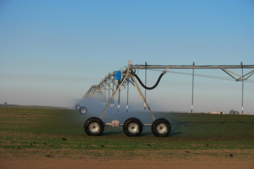 Industrial irrigation equipment on farm field