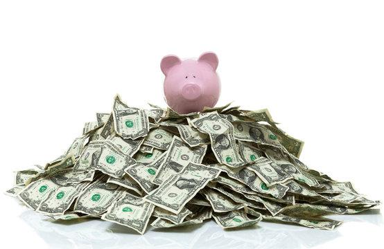 piggy bank on a pile of cash