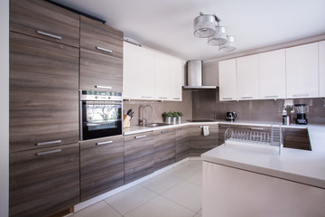 Kitchen furnished in modern design