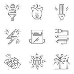 Thin line style energy saving icons