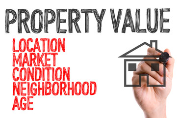 Hand with marker writing: Property Value