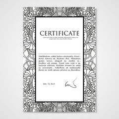 Graphic design template document with hand drawn doodle pattern.