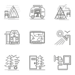 Hiking and camping thin flat line vector icons set