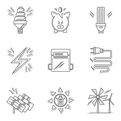 Thin line style energy saving vector icons