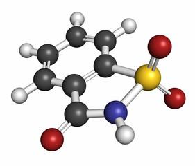 Saccharin artificial sweetener molecule (sugar substitute).