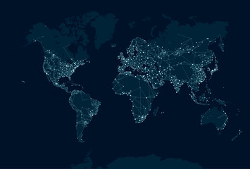 Communications network map of the world
