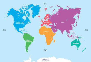 Continents of the World, Map Wall mural