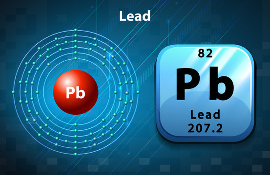 Symbol and electron diagram of Lead