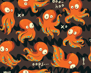 Octopuses in cartoon seamless pattern