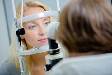 Having an eye exam