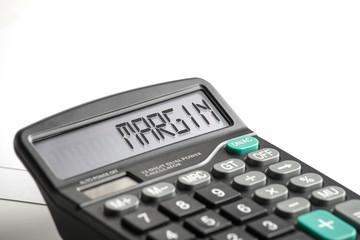 word margin on a calculator display