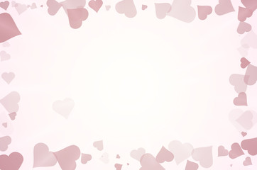 Many hearts frame abstract background.